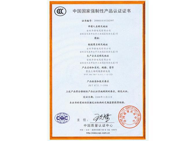 中国国家强制性产品认证证书1