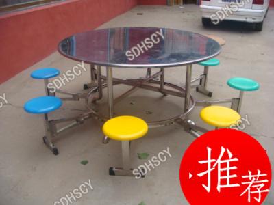 山东鸿盛不锈钢连体8人玻璃钢圆凳折叠原形桌面餐桌
